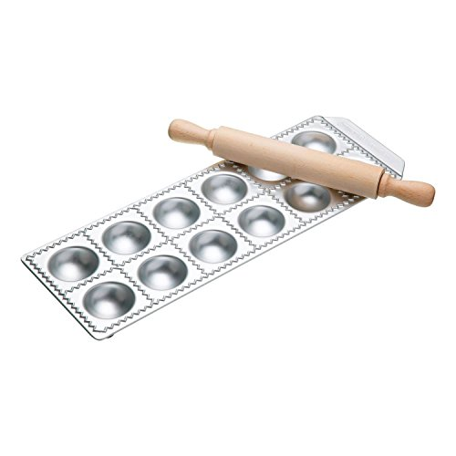 Imperia 12-Square Ravioli Maker by Cucina Pro 127-12 with Rolling Pin and Instructions - Imperia Ravioli