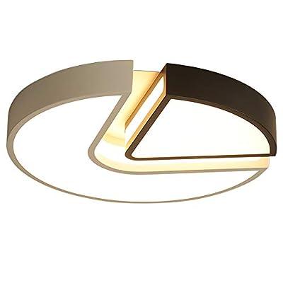 Mxw-Art Modern Minimalist Acrylic Led Light Round Black and White Bedroom Ceiling Lamp Living Room Lamp Study Lamp