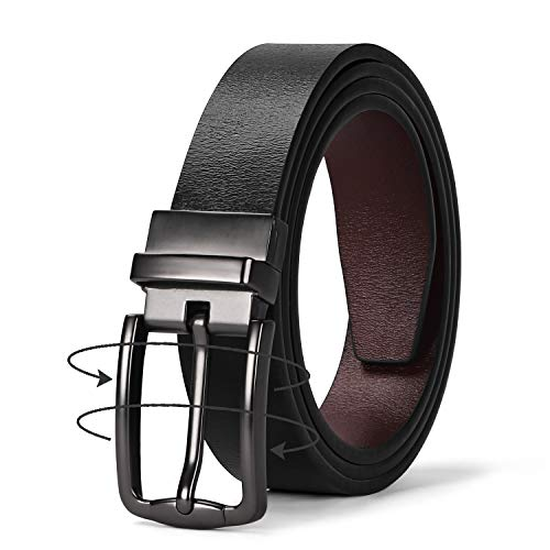 JASGOOD Women Leather Reversible Belt, Ladies Belt for Jeans with Rotated Buckle