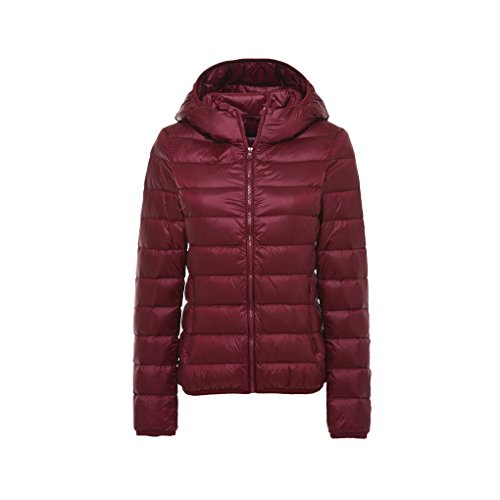 Puffer Women's Warm Rui Hooded Down Packable Winter Red Tops Wine Jacket Coat Lightweight Down YY AXRwBqx