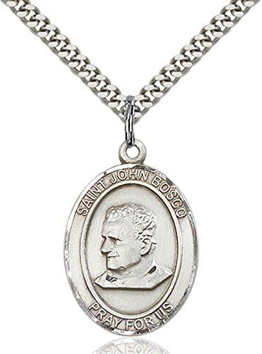 Sterling Silver Saint John Bosco Medal Pendant, 1 Inch John Bosco Pendant