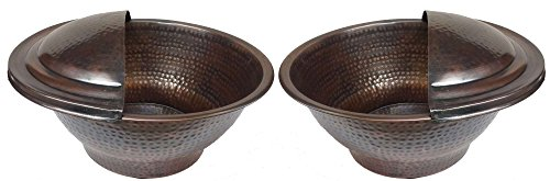 Egypt gift shops Pair Antique Patina Copper Massage Therapy Deep Pedicure Water Bowls + 2 Foot Rests by Egypt Gift Shops