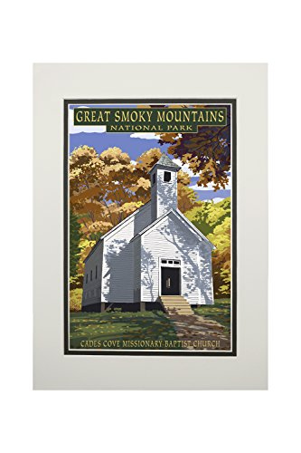 Great Smoky Mountains National Park, Tennesseee - Cades Cove Baptist Church (11x14 Double-Matted Art Print, Wall Decor Ready to Frame)