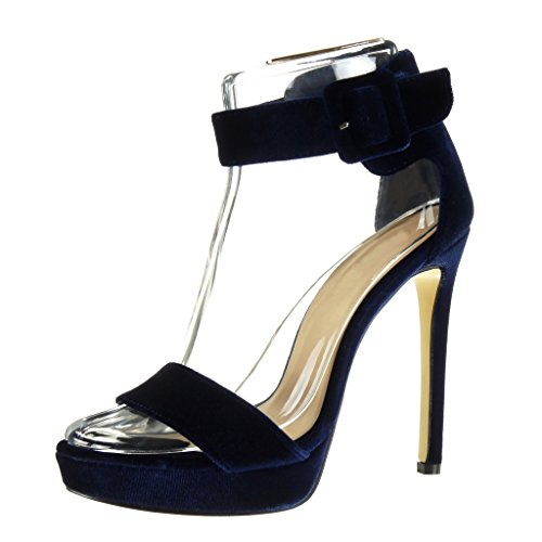 Angkorly Scarpe da Moda Scarpe Decollete Sandali Stiletto con Cinturino Alla Caviglia Zeppe Donna Fibbia Tacco Stiletto Tacco Alto 13 cm - Blu