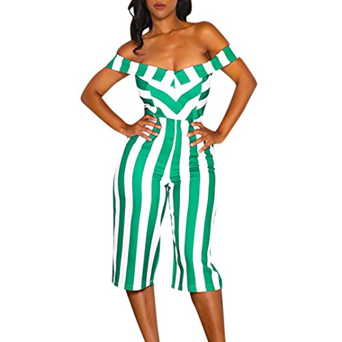 Women Sexy Off Shoulder V-Neck Striped Printed Strapless Wide-Leg Pants Jumpsuit Rompers Elegant 3/4 Length (Green, XL) by RAISINGTOP