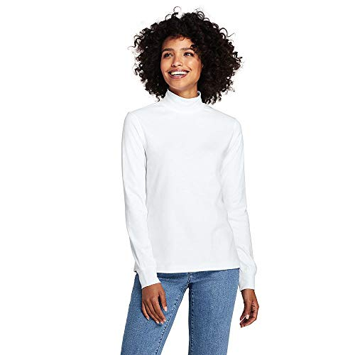 Interlock Turtleneck Ladies Mock (Lands' End Women's Relaxed Cotton Mock Turtleneck, L, White)