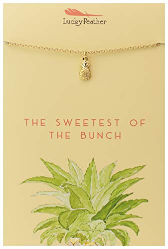 """Lucky Feather Pineapple Necklace - Sweetest of The Bunch 14K Gold Dipped Pendant on Adjustable 16"""" – 18"""" Cable Chain - Necklaces for Teen Girls"""