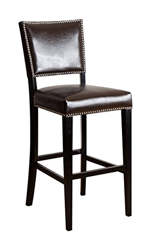 Abbyson Monaco Brown Bicast Leather Bar Stool