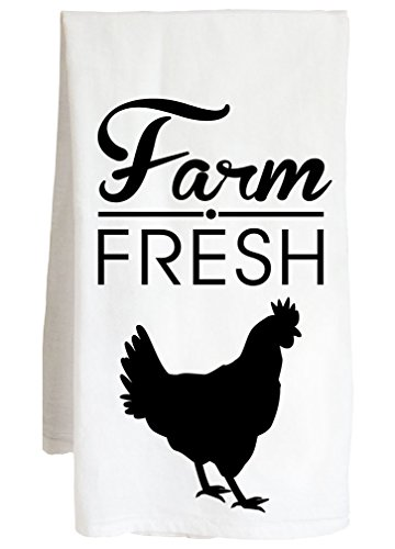 Farm Fresh Chicken - Livestock Animal Farmer - Farm Flour Sack Kitchen Tea Towel by Live Nice
