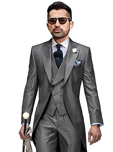 JYDress Men's Gentleman 3 Piece Tailcoat Suits Peak Lapel Blazers Tail Tuxedo Grey ()