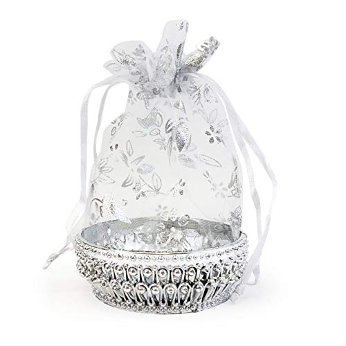Allgala 12-PK Party Favor Container Wedding Baskets with Organza Cover, Silver