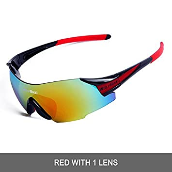 2d94c3bf51f WOLFBIKE UV400 Cycling Glasses Mountain Bike MTB Sunglasses Eyewear - ONE  Lens (NEW black red