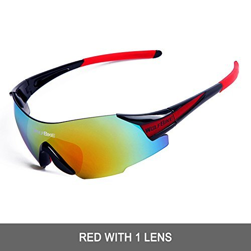 Price comparison product image WOLFBIKE UV400 Cycling Glasses Mountain Bike MTB Sunglasses Eyewear - ONE Lens (NEW black red)