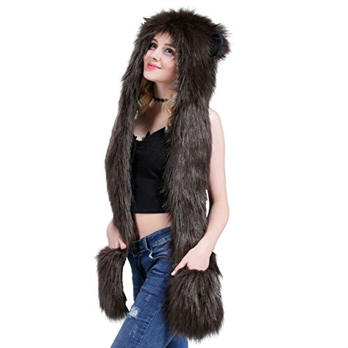 Brown Bear Full Animal Hood Hoodie Hat Faux Fur 3 in 1 Function