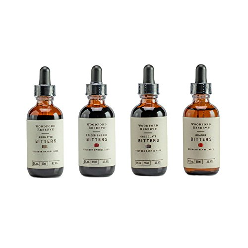 Bourbon Bitters Bundle: Woodford Reserve Aromatic, Spiced Cherry, Orange, and Chocolate Cocktail Bitters - 2 oz Each