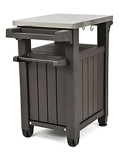 Keter Unity Indoor Outdoor BBQ Entertainment Storage Table / Prep Station  With Metal Top