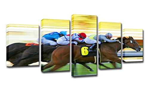WINSEN Modern HD Printed Poster Canvas Painting 5 Pieces Wall Art Fast Horse Racing Landscape Modular Pictures Living Room Décor ()