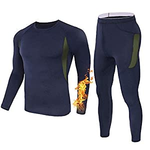 Men's Thermal Underwear Set Sports Long Johns Base Layer Compression Gear for Workout