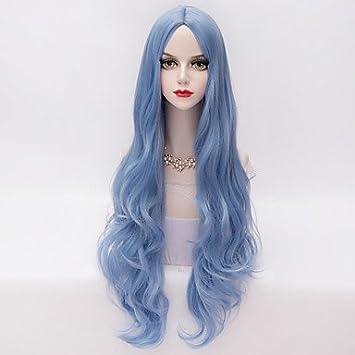 Y&M larga cielo suelta ondulada parte u pelo azul de la moda peluca sintética del partido