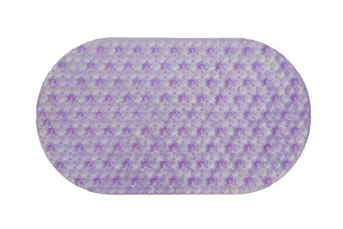 27x15 Non Slip Bath Mat Oval Purple | Non-Toxic (BPA-Free) and Anti-Bacterial