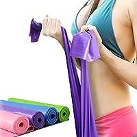 CHOUREN 1.5m Elastic Yoga Pilates Rubber Stretch Resistance Exercise Fitness Band Belt (Color : Pink)