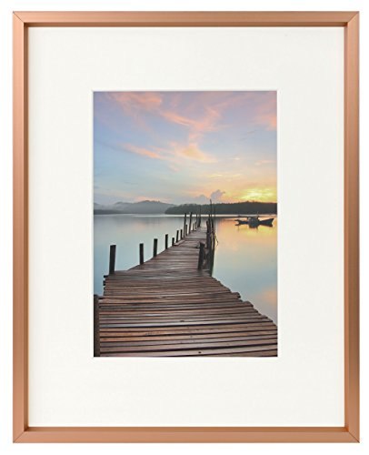 8x10 Rose Gold Aluminum Photo Frame - Ivory Mat for 5x7 Picture - Easel Stand for Table/Desk Top - Swivel Tabs - Landscape/Portrait - Real Glass (8x10)