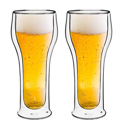 Style Setter Double Wall Beer Glasses - Set of 2 14.2oz Insulated Home Barware Tumblers for Beers, Cocktails, Spirits & Other Hot & Cold Beverages - Unique Gift Idea for Birthday, Holiday & More