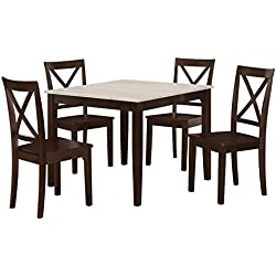 Dorel Living 5 Piece Hillside Dining Set with Crossback Chairs and Distressed Tabletop, Espresso