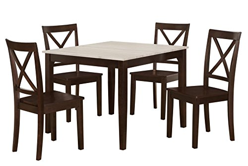 dorel living 5 piece hillside dining set with crossback chairs and distressed tabletop espresso