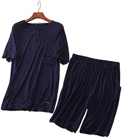パジャマ CHJMJP 夏のモーダルピュアカラー男性パジャマメンズショートスリーブホームウエアについてショートパジャマシンプルPijamasを設定します。 (Color : ブラック, Size : L)