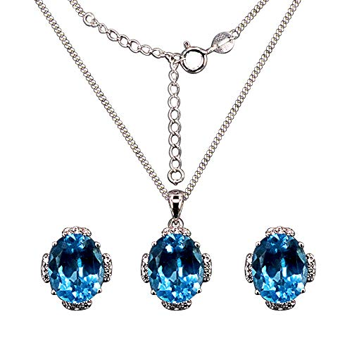 (HAZZAR Real 925 Sterling Silver with Natual Blue Oval-Shape Topaz and White Cubic-Zirconia Necklace & Earrings Set)