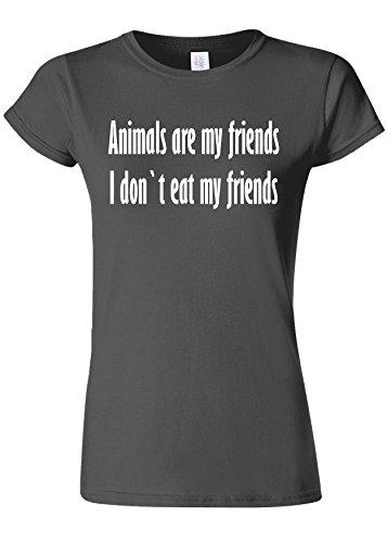 手綱岩正統派Animals Are My Friends Funny Novelty Charcoal Women T Shirt Top-L