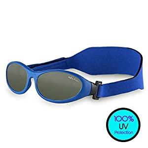 Toddler Sunglasses (UVA UVB Protection) – BabyWrapz Kids Sunglasses Age 2 & Younger w/ Soft, Adjustable Strap for No-Fuss Comfort,Blue