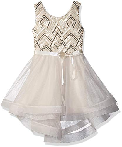 Amy Byer Girls' Big Sequin Bodice Party Dress with Mesh Skirt, Champagne Golden Diamond, 14