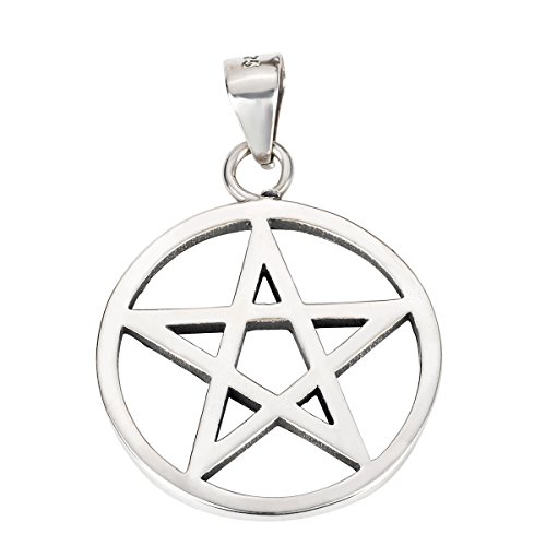 CloseoutWarehouse Sterling Silver Wicca Traditional Pentagram Pendant