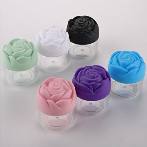 VNDEFUL 6PCS 20g Rose Shaped Mask Bubble Bottle,Refillable Make-up Cosmetic Jars Empty Face Cream Lip Balm Lotion Storage Container Pot bottle (Cream Bubble)