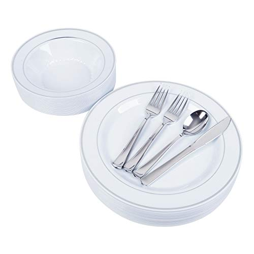 (25 Heavyweight Elegant Plastic Disposable Place Settings: 25 Dinner Plates, 25 Salad or Soup Bowls, 50 Polished Silver Plastic Forks, 25 Knives & 25 Spoons (whole set))