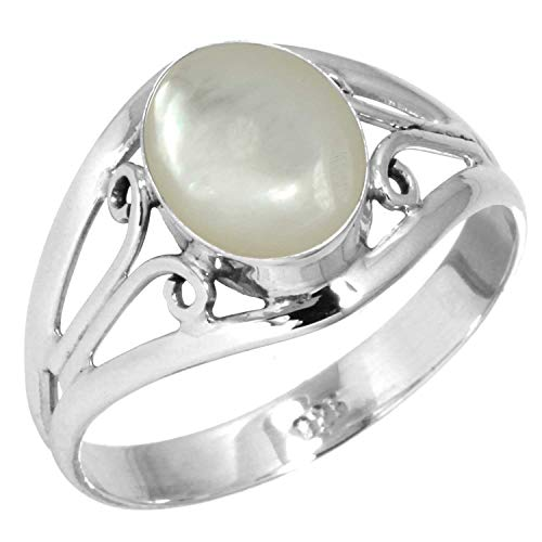 Natural Mother of Pearl Ring 925 Sterling Silver Handmade Jewelry Size 5