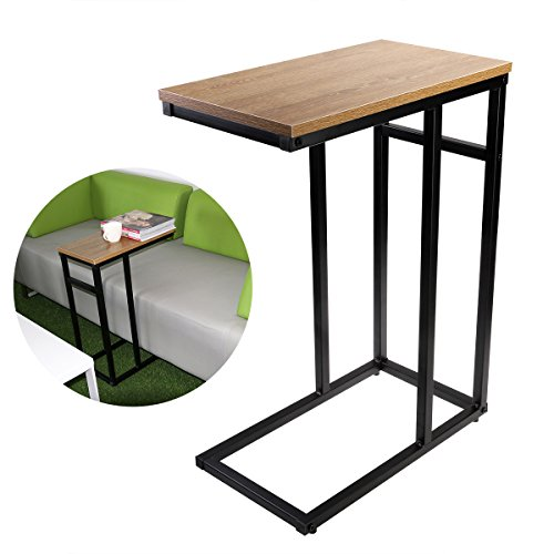C Table, OULII Sofa Side Table with Wood Finish and Steel Construction
