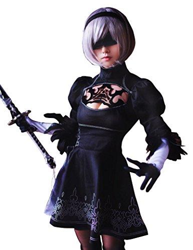 TOKYO-T NieR Automata Cosplay 2B Gothic Maid Costume Black Full Set (US4-6) (Steampunk Anime Costume)