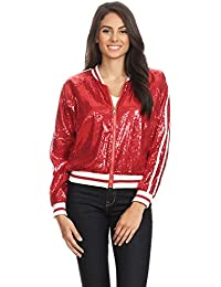Womens Long Sleeve Front Zip Track Stripe Sequin Bomber Jacket
