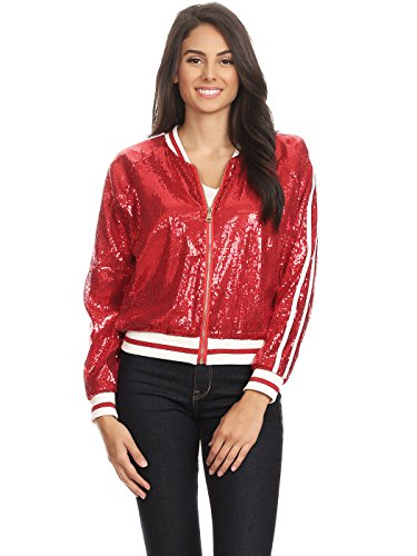 Anna-Kaci Womens Long Sleeve Front Zip Track Stripe Sequin Bomber Jacket, Red, X-Large