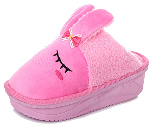 Blubi Womens Warm Bunny Shoes Animal Slippers (7.5, Rose)