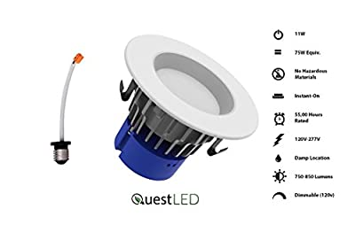 "Quest UNV 4"" Premium Downlight 11W, 120V-277V, 850 Lumens, CRI>80, Dimmable, Energy Star and Intertek Certified"