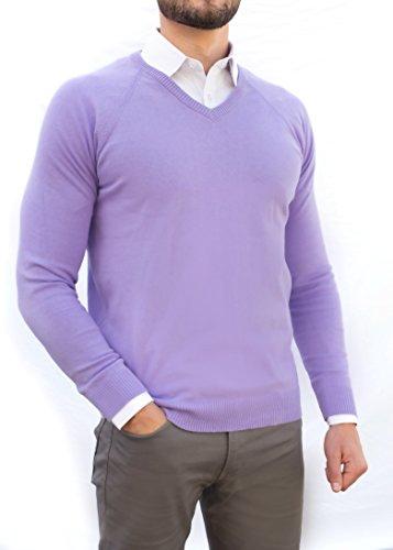 Comfortably Collared Men's Perfect Slim Fit V-Neck Sweater Medium Purple Heather