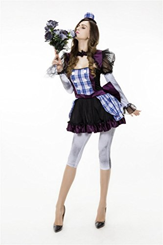 Bigood Halloween Costumes Mariée Fantôme Déguisement Adulte Clown Cosplay Mascarade