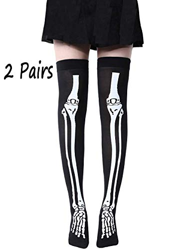 Childlike Me 2 Pairs of Skeleton Thigh High Socks for Cosplay Halloween Party ()