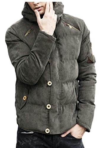 Casual Gocgt Winter Corduroy Padded Green Men's Down Jackets Thicken Coats 5rwTq5