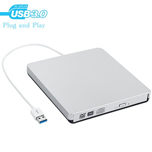GEEKLIN External CD DVD Drive, MMUSC USB 3.0 Slim Protable External CD-RW Drive DVD-RW Burner Writer Player for Laptop Desktops Windows Mac OSX