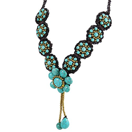 AeraVida Mystic Florals Simulated Turquoise and Fashion Brass Beads Medley Tassels Drop Necklace